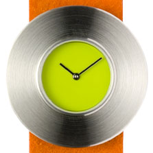 Claudia Schafer, design horloge oranje polsband