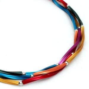 Multi colour ketting geanodiseerd aluminium